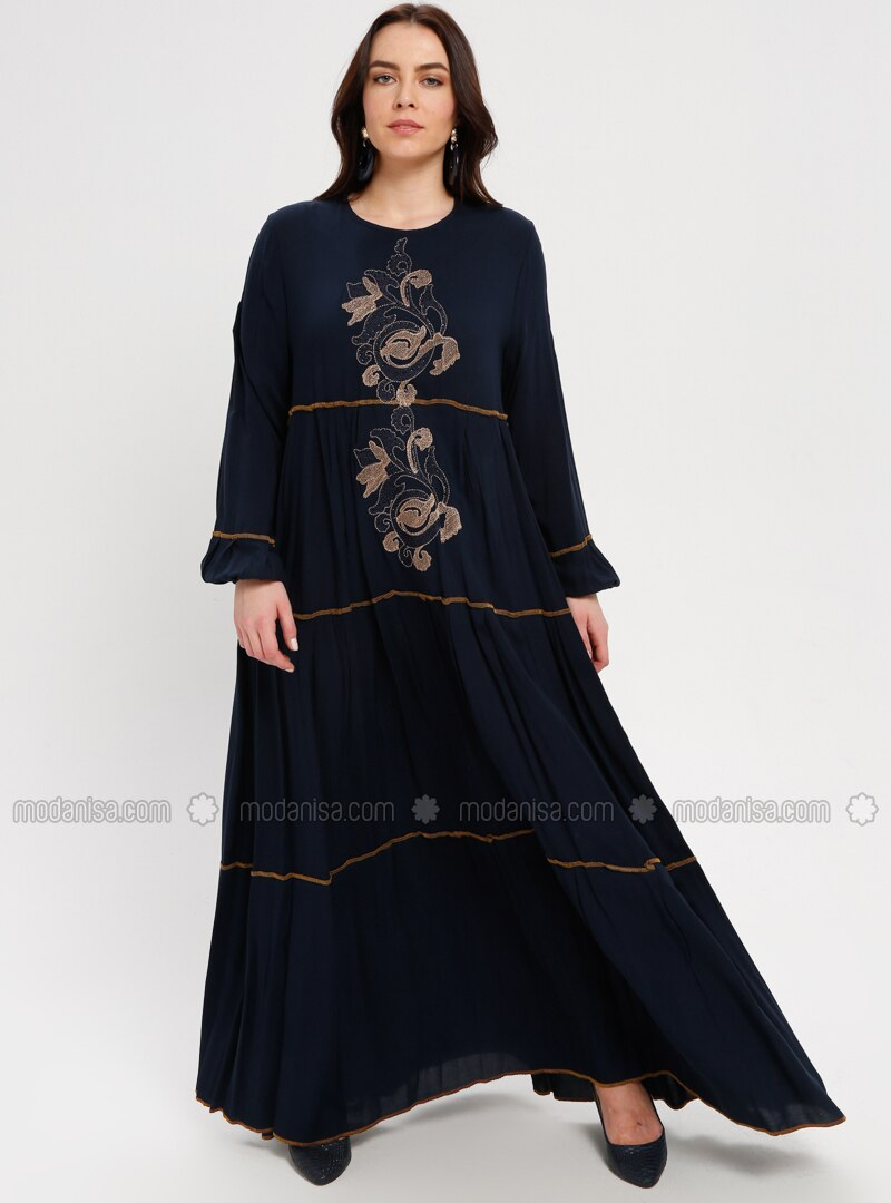 Navy Blue - Gold - Multi - Unlined - Crew neck - Dress - BAGİZA