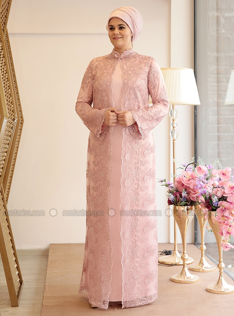 Salmon - Fully Lined - Crew neck - Muslim Plus Size Evening Dress