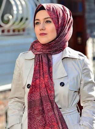 Maroon - Printed - Cotton - Shawl -  Eşarp