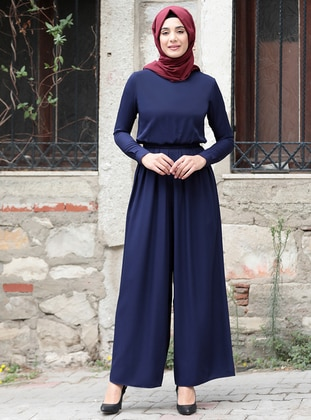 Navy Blue - Unlined - Crew neck - Jumpsuit