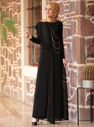 Black - Black - Fully Lined - Crew neck - Evening Jumpsuits - Rana Zenn