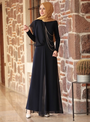 Navy Blue - Fully Lined - Crew neck - Jumpsuit - Rana Zenn