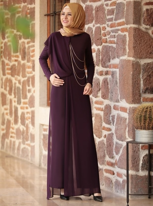 Plum - Fully Lined - Crew neck - Jumpsuit - Rana Zenn