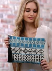 Tribal Desenli Clutch Çanta - Turkuaz - Chiccy