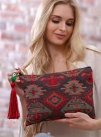 Tribal Desenli Clutch Çanta - Bordo - Chiccy