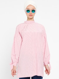 Pink - Plaid - Polo neck - Tunic