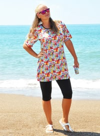 Black - Plus Size Half Covered Swimsuits