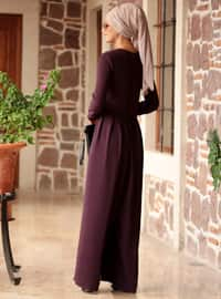 Plum - Unlined - Crew neck - Jumpsuit