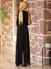 Black - Black - Fully Lined - Crew neck - Evening Jumpsuits