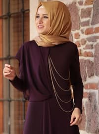 Plum - Fully Lined - Crew neck - Jumpsuit
