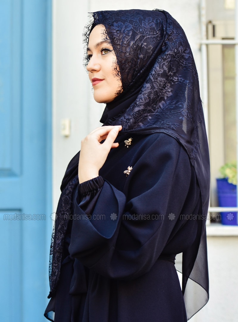 Black - Lace - Plain - Shawl - Eşarp