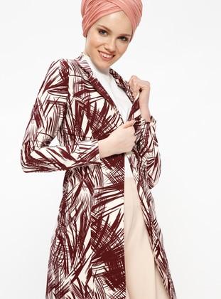 Maroon - Multi - Unlined - Shawl Collar - Jacket