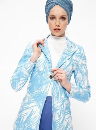 Blue - Multi - Unlined - Shawl Collar - Jacket