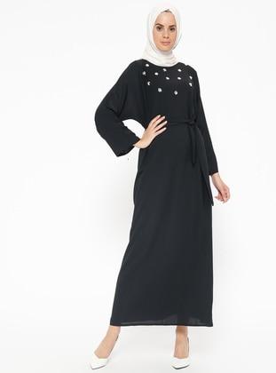 Black - Crew neck - Unlined - Dresses