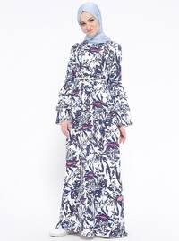 Navy Blue - Multi - Polo neck - Unlined - Dresses