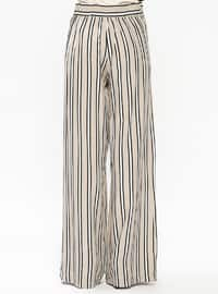 Beige - Stripe - Viscose - Pants