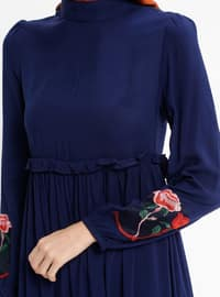 Navy Blue - Polo neck - Unlined - Dresses
