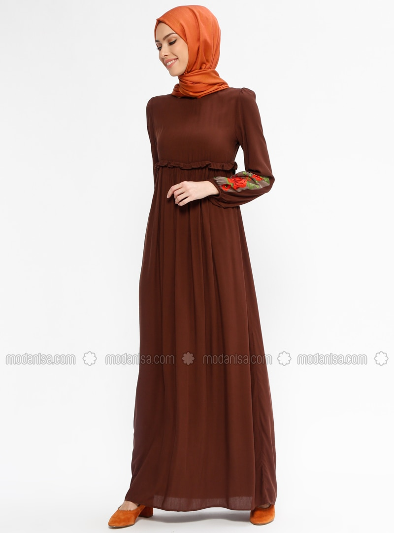 797a459f3df4a Salmon Fully Lined Crew neck Muslim Evening Dress Minel Ask