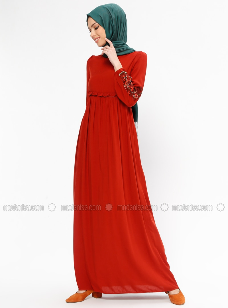 Tan - Polo neck - Unlined - Dresses