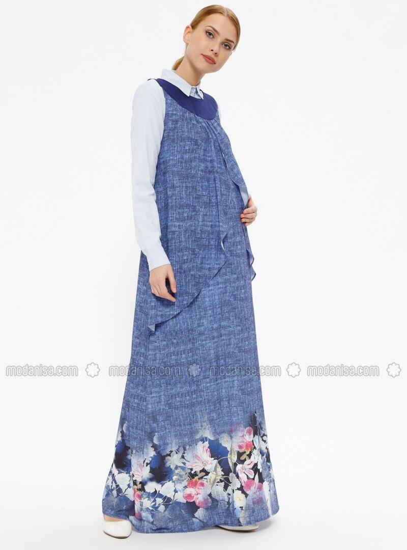 934d9e2f794 Blue - Multi - Crew neck - Unlined - Maternity Dress. Fotoğrafı büyütmek  için tıklayın