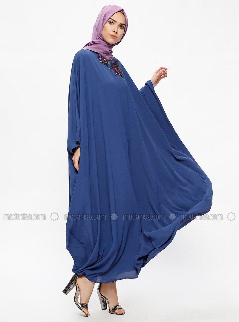 Blue - Indigo - Unlined - Crew neck - Abaya
