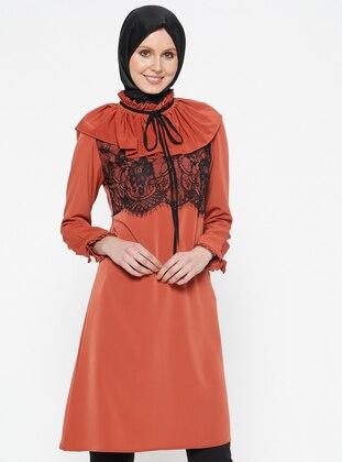 Orange - Polo neck - Tunic