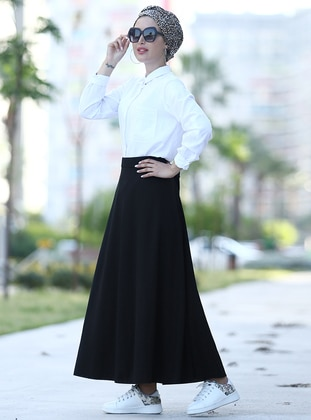 Black - Unlined - Skirt - Myzen