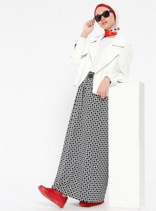Black - White - Multi - Unlined - Skirt