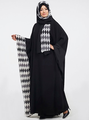 Black - White - Gray - Printed - Shawl - Ferrace By