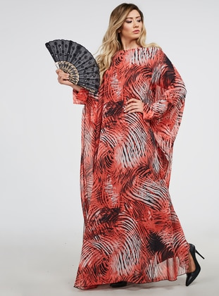 Red - Coral - Multi - Unlined - Crew neck - Abaya - Ferrace By