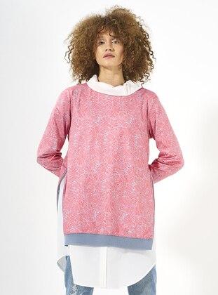 Blue – Pink – Multi – Crew Neck – Sweat-Shirt – Mevra