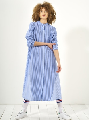 Blue - Stripe - Polo neck - Unlined - Dresses