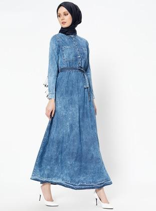 0a07acc99 أزرق - قبة بارزة - نسيج غير مبطن - جينز - فستان