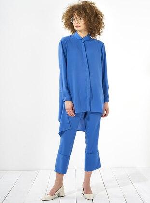 Blue – Round Collar – Tunic – Mevra