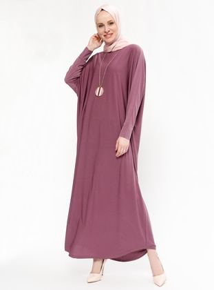 Dusty Rose - Unlined - Crew neck - Muslim Evening Dress - ZENANE