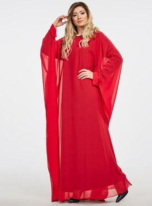 Red - Unlined - Crew neck - Abaya - Ferrace By