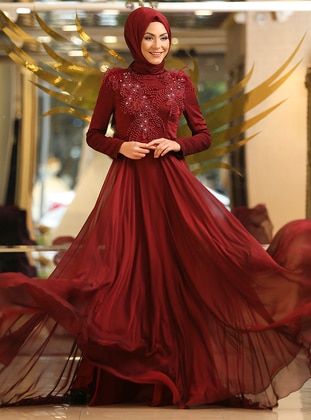 Maroon - Fully Lined - Polo neck - Muslim Evening Dress - Minel Ask 438381