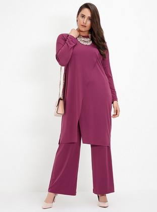 Purple - Plum - Crew neck - Unlined - Plus Size Suit
