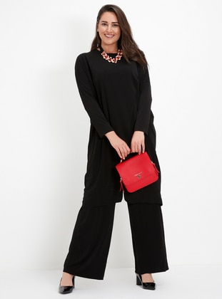 Black - Crew neck - Unlined - Plus Size Suit - Alia