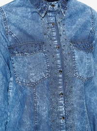 Blue - Point Collar - Denim - Tunic