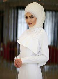 Ecru - Fully Lined - Polo neck - Muslim Evening Dress