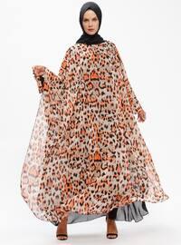 Orange - Multi - Unlined - Crew neck - Abaya - Ferrace By