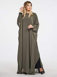 Green - Khaki - Unlined - Crew neck - Abaya - Ferrace By