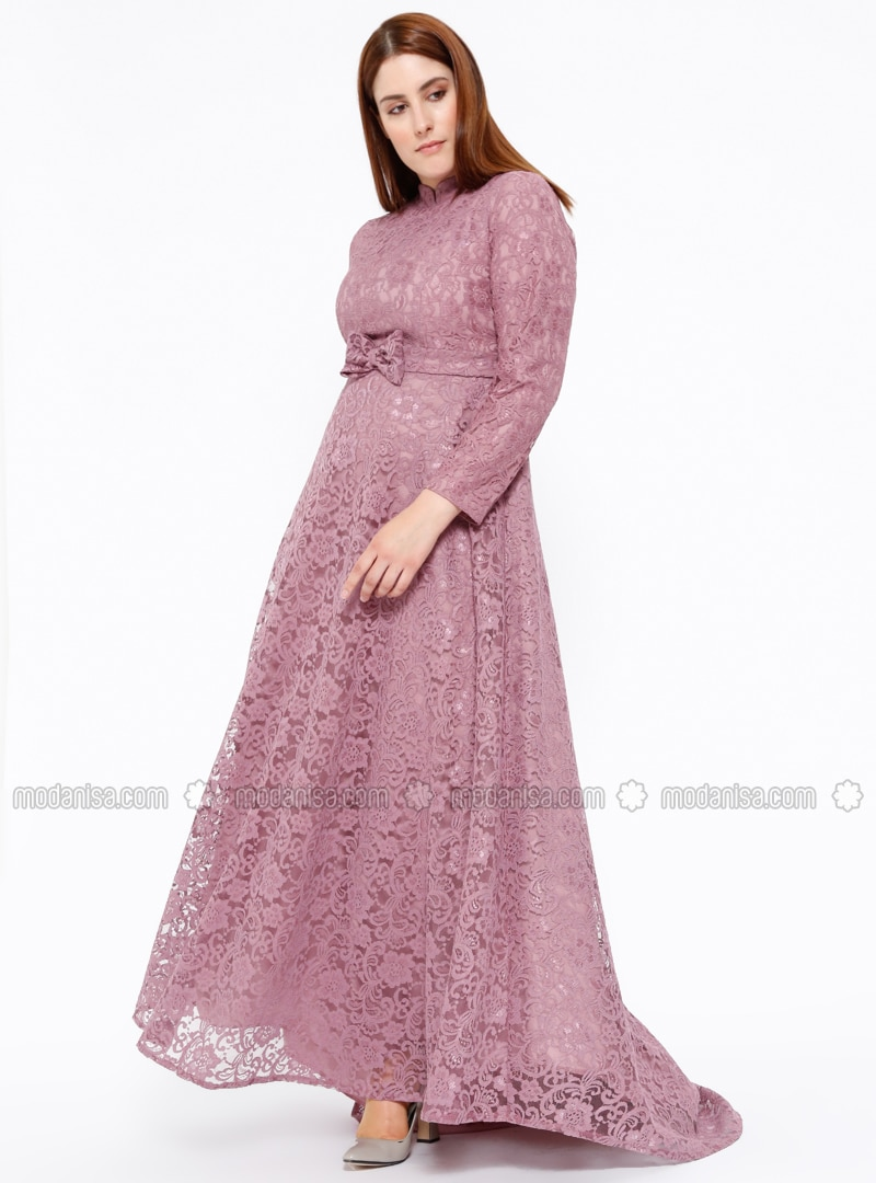 Pink - Fully Lined - Crew neck - Muslim Plus Size Evening Dress