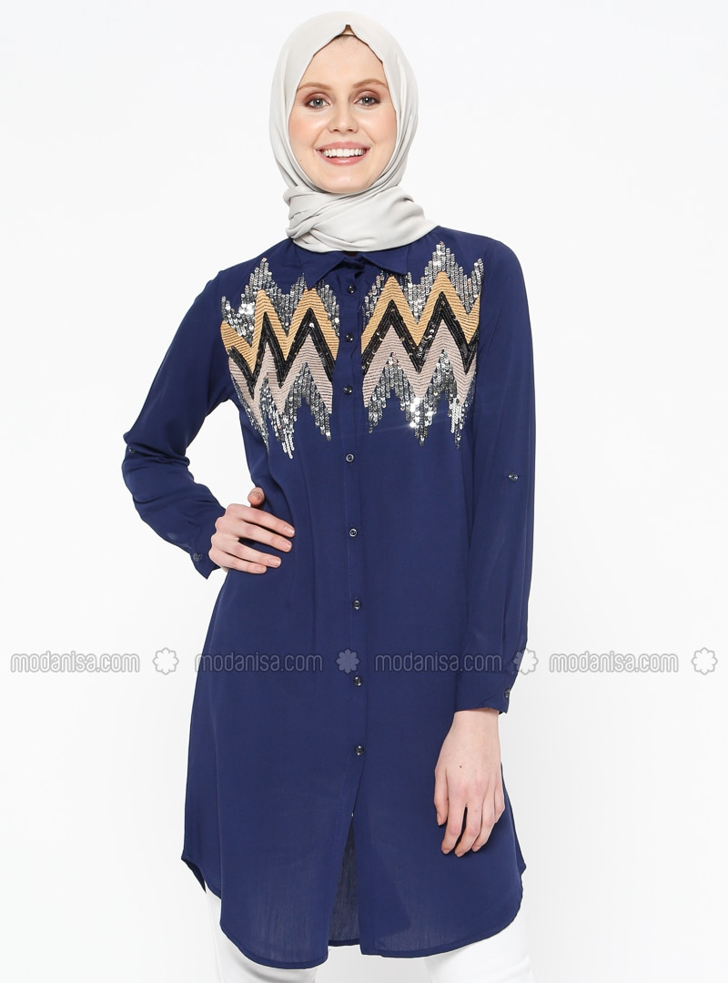 Navy Blue - Point Collar - Tunic