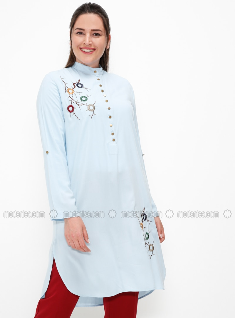 Blue - Button Collar - Plus Size Tunic