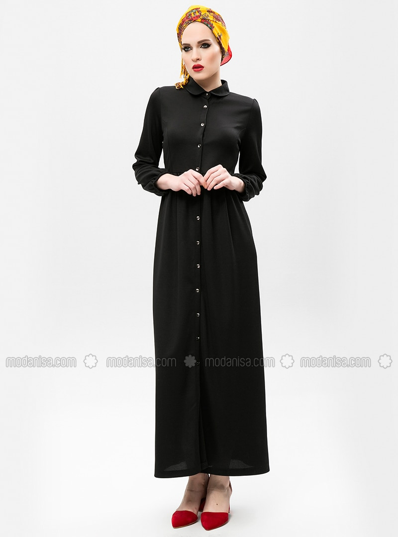 a10a5c80fb4 Noir - Col Claudine - Robe