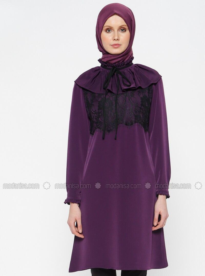 Purple - Polo neck - Tunic