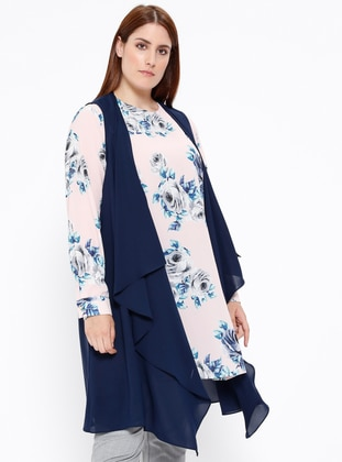 Navy Blue - Powder - Floral - Crew neck - Unlined - Plus Size Suit