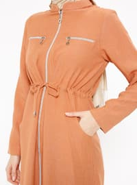 Orange - Unlined - Crew neck - Topcoat
